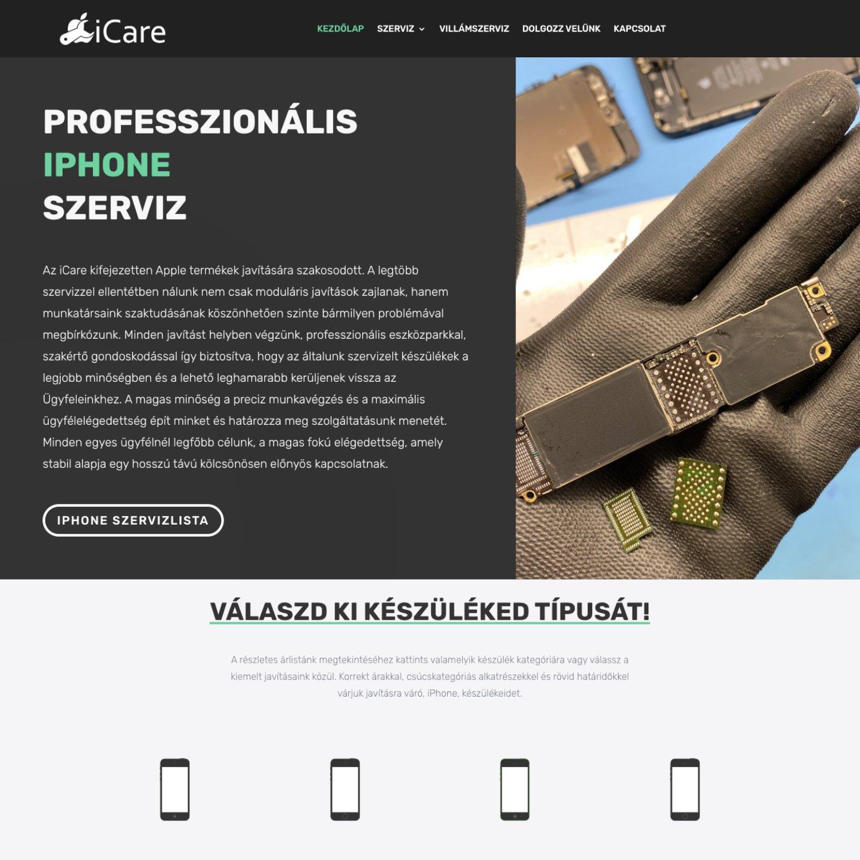 iCare Debrecen - FutureManagement - Weboldal készítés